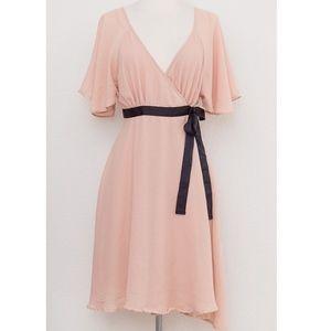 H&M pink chiffon wrap dress